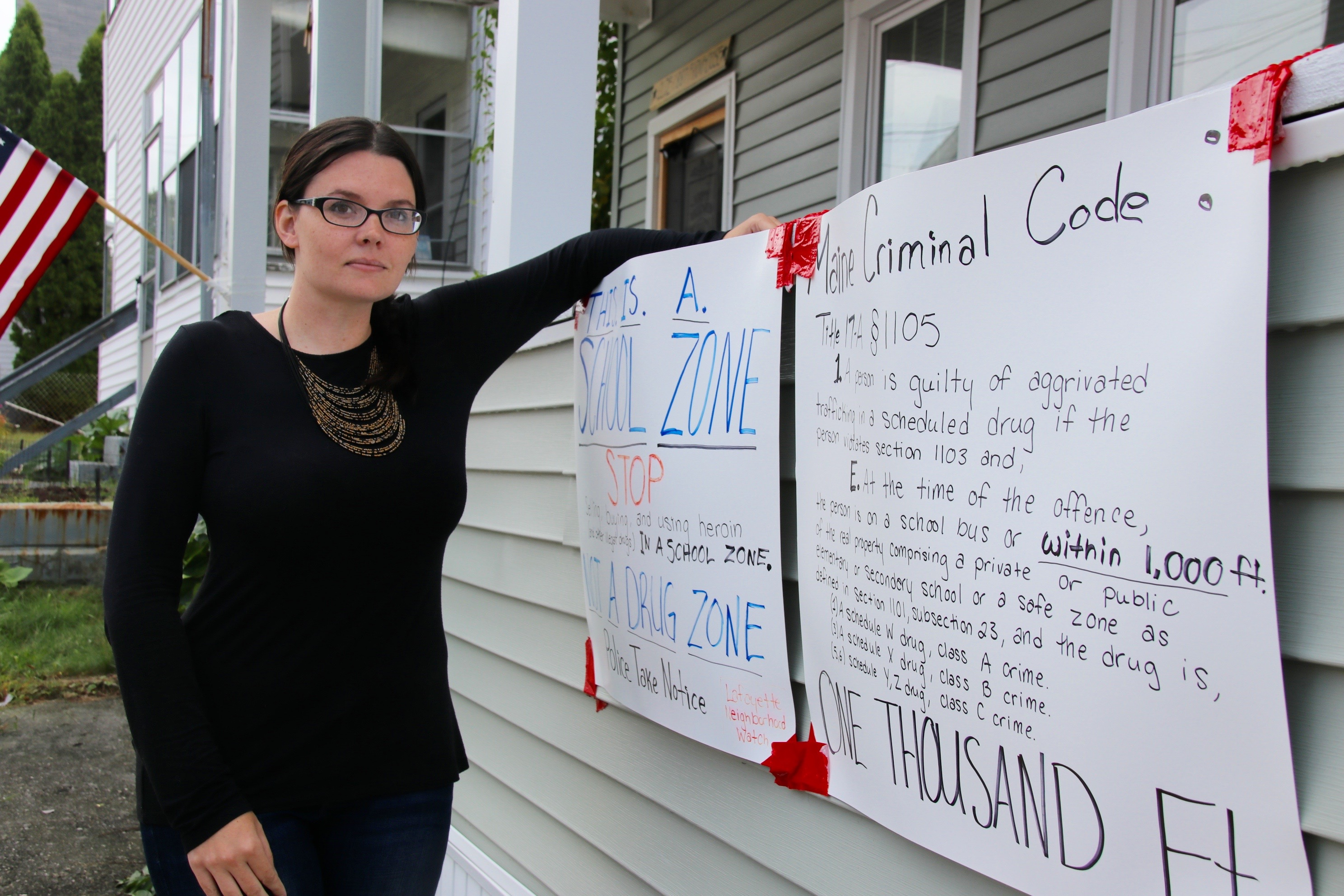 Kari Zielke says she's fed up with drug activity in her neighborhood near Lafayette School  and is inviting folks to stop by for a sit-in at noon Saturday to raise awareness of the problem. TAMMY WELLS/Journal Tribune
