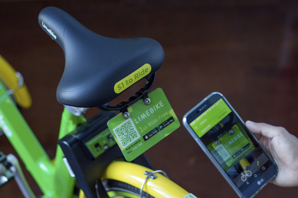Dockless bike-share companies like LimeBike allow riders to unlock and pay for shared bicycles through a smartphone app without having to use a permanent docking station.