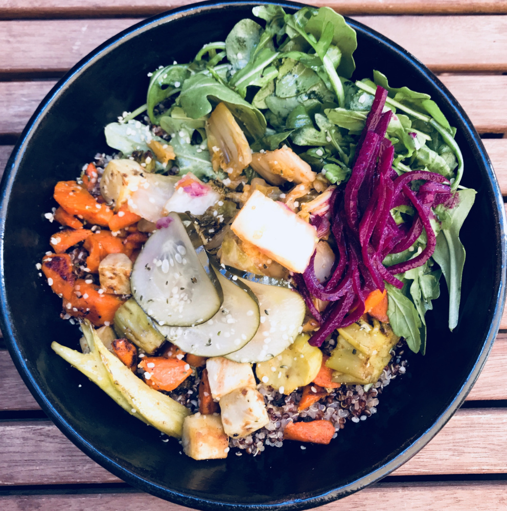The All the Vegetables bowl at LB Kitchen in Portland is composed of quinoa or farro, seasonal vegetables, pickled beets, sauerkraut and an option to add turmeric grilled tofu.