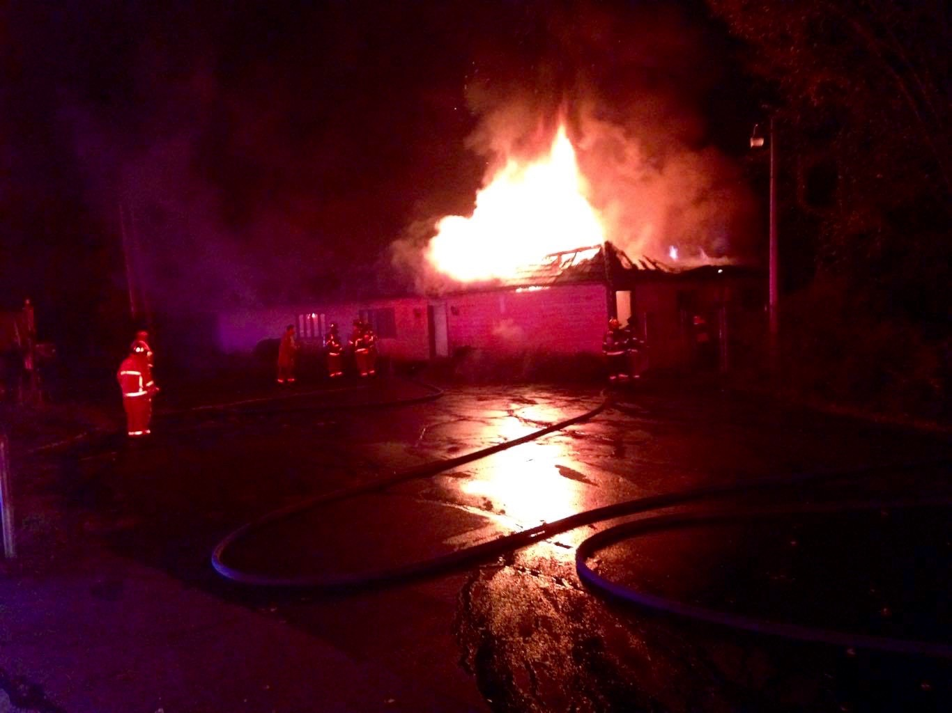 Firefighters from Alfred and several surrounding communities fought a blaze at a commercial building at 122 Sanford Road Friday night. No one was injured. COURTESY PHOTO/Alfred Fire Department
