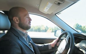 JAKE NELSON, AAA's director for traffic safety advocacy and research, drives one of the test vehicles used in the study in Washington. Infotainment technology automakers are cramming into the dashboard of new vehicles is making drivers take their eyes off the road and hands off the wheel for dangerously long periods of time, a study released by AAA says.