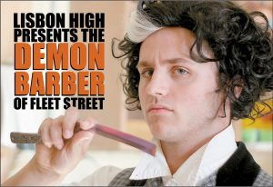 """BRADLEY HARRIMAN stars as the title character in Lisbon High School's production of """"Sweeney Todd."""""""