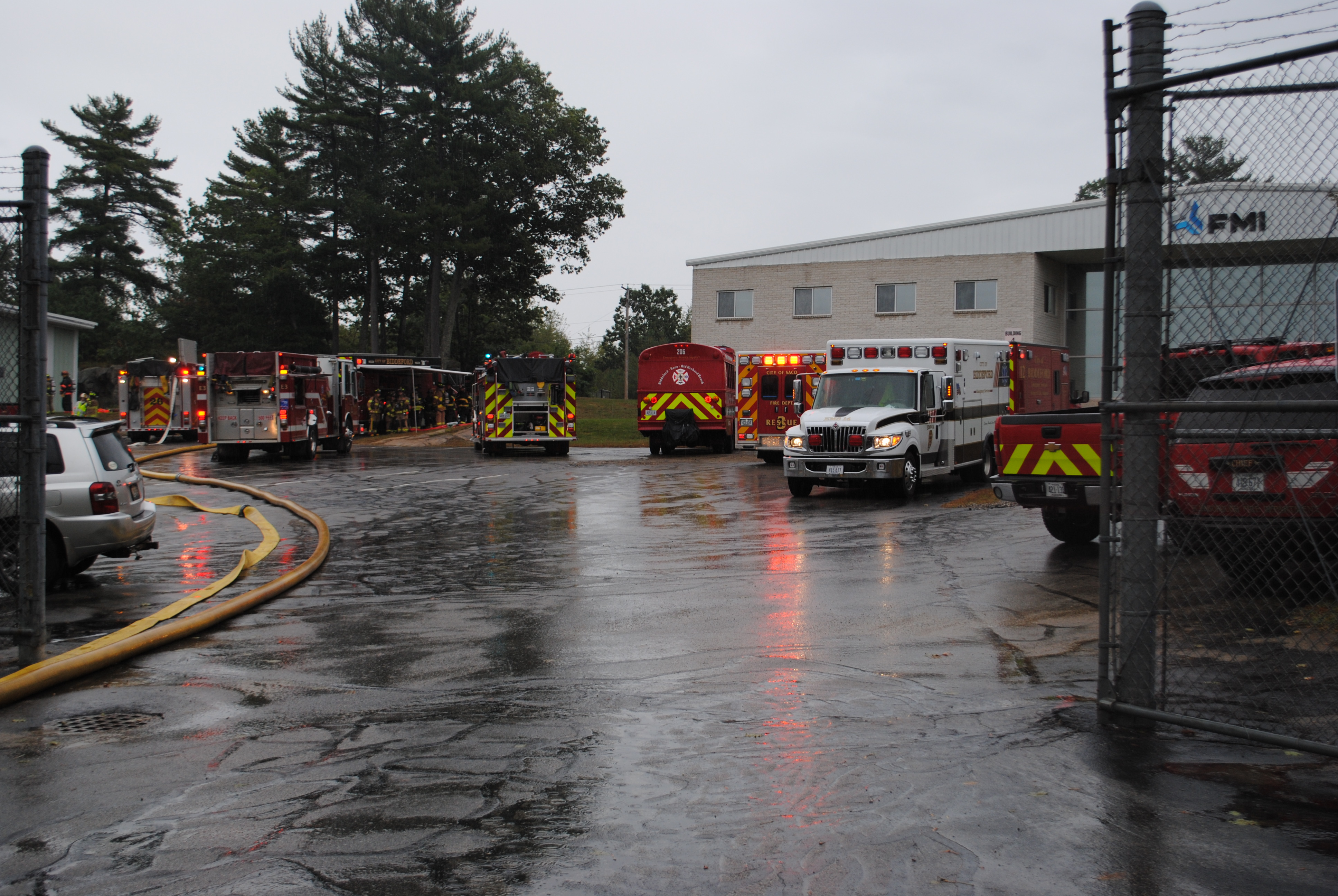 Firefighters respond to a fire at Fiber Materials, Inc. at 5 Morin St. in Biddeford on Saturday morning. LIZ GOTTHELF/Journal Tribune