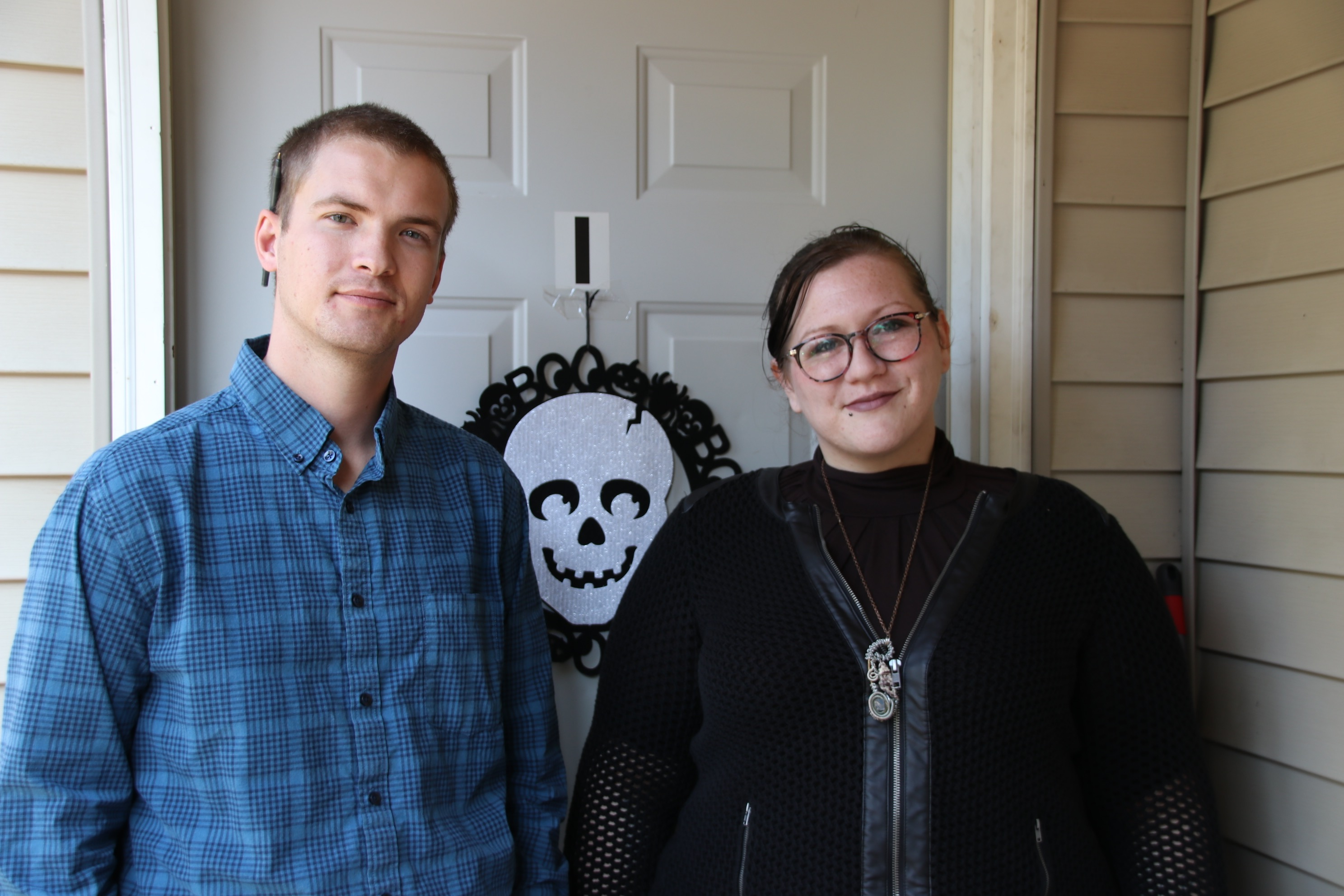 Journey House founder and director of mission Jesse Harvey and Director of Women's Services Miranda Gilman stand at the door of the new women's sober living home in Sanford. Journey House opened a  sober living home for men across town earlier this year. TAMMY WELLS/Journal Tribune
