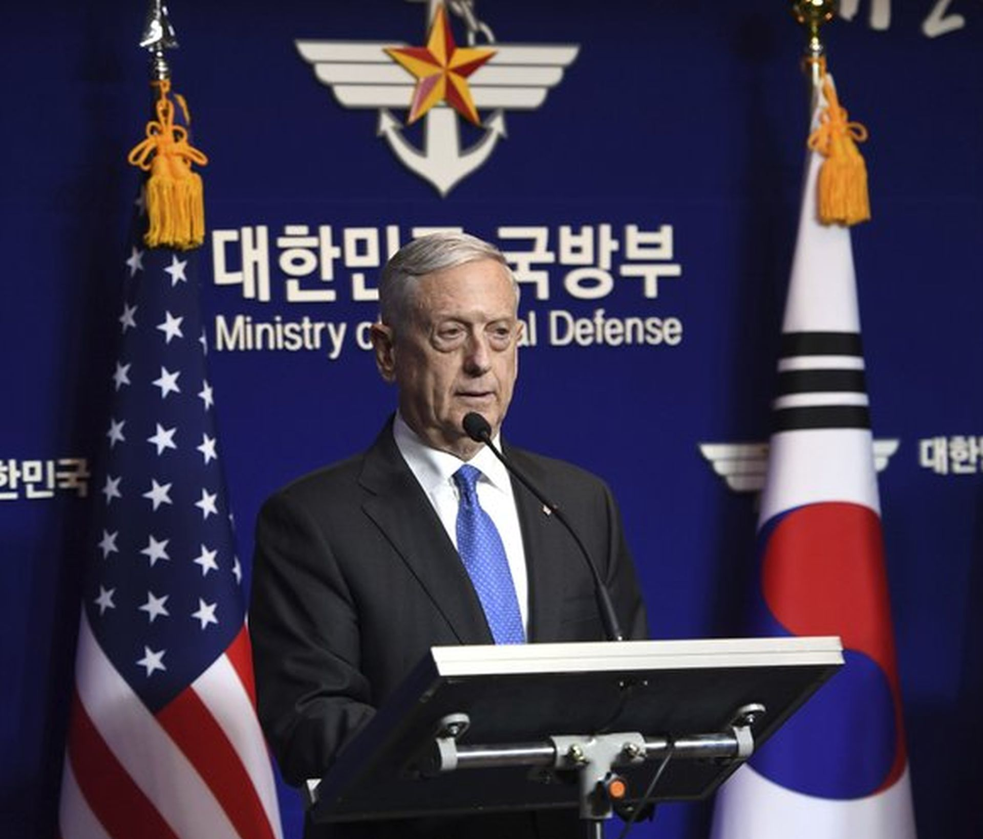 U.S. Defense Secretary James Mattis speaks during a joint press conference with South Korea Defense Minister Son Young-moo in Seoul, South Korea on Saturday. AP NEWSWIRE