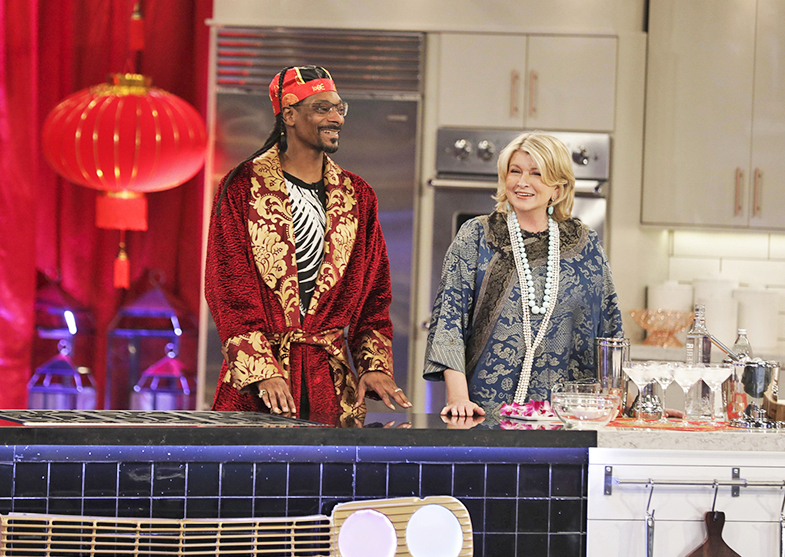 Snoop Dogg and Martha Stewart on set. Snoop is, unsurprisingly, high for every episode.