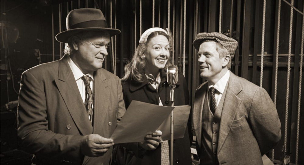 """Daniel Noel, left, Emma O'Donnell and Dustin Tucker rehearse """"It's a Wonderful Life"""" at Portland Stage Company."""