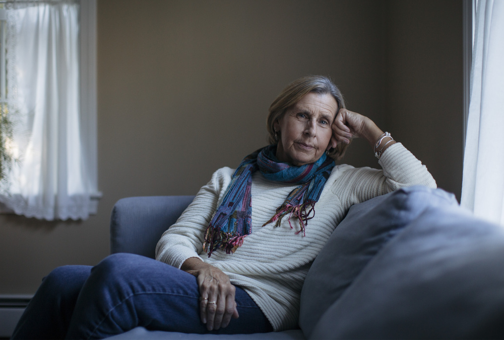 """Patricia Stone, of Saco, has volunteered at the Center for Grieving Children in Portland since 2009. She works with adults and her role falls somewhere between friend and therapist. """"I feel like I come away with more than I ever give,"""" Stone said."""