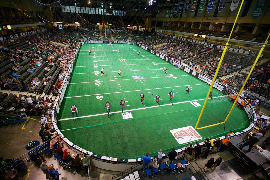 The Sioux City Bandits kick off to the Omaha Beef in a Champions Indoor Football league game in Sioux City, Iowa, in May of 2015. The eight-on-eight indoor game is played on a 50-yard field laid inside a hockey rink. Portland's Cross Insurance Arena could host a team as soon as next spring.