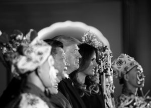 PRESIDENT DONALD TRUMP and first lady Melania Trump stand with Chinese President Xi Jinping during an opera performance at the Forbidden City this morning in Beijing, China. Trump is on a five country trip through Asia traveling to Japan, South Korea, China, Vietnam and the Philippines.