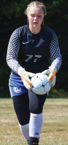 RICHMOND GIRLS SOCCER senior goaltender Sydney Underhill Tilton is about to boot the ball down the field during a regular season contest in Richmond. The Bobcats went on to win the State Class D title for the second time in three seasons.
