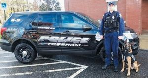 TOPSHAM POLICE OFFICER LUCAS SHIRLAND and K-9 Jobe have an important new tool now that Jobe has received a donated bullet- and stab-protective vest.