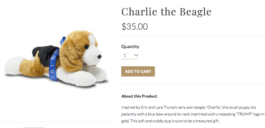 """A screenshot from the TrumpStore.com website shows """"Buddy the Beagle,"""" selling for $35 and described as """"decorated in the USA."""""""
