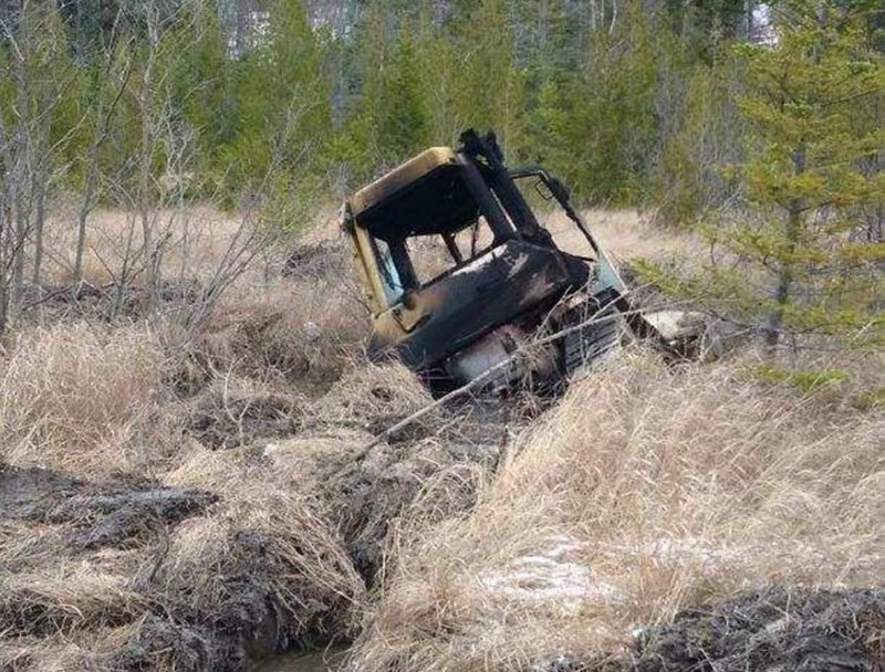 A bulldozer owned by Cousineau Inc. in Wilton and taken for a joyride was found by hunters on Tuesday off Beech Hill Road in Sandy River Plantation where it had been set on fire.