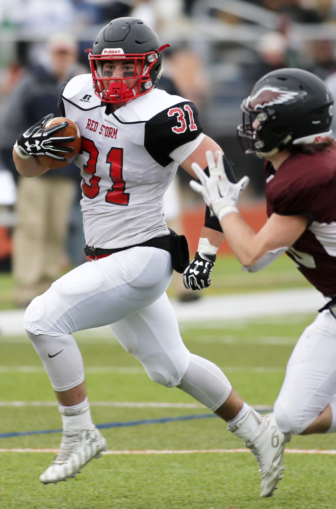 Scarborough running back Owen Garrard excelled on both offense and defense and scored five touchdowns in the Class A state championship game.