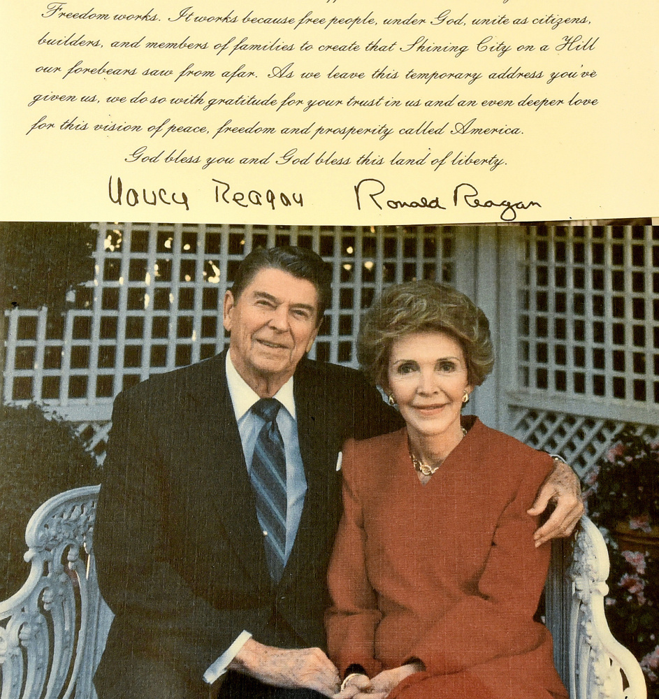 A holiday greeting card and note from former President Ronald Reagan and his wife, Nancy, are part of a collection of holiday greetings sent to former U.S. Sen. Margaret Chase Smith on view at the Margaret Chase Smith Library in Skowhegan on Thursday.