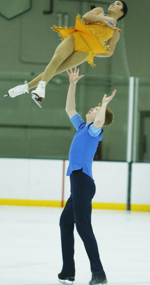 Franz-Peter Jerosch of Yarmouth has competed with three partners in pairs figure skating over the past three years. But now he has what he considers the right match in Jade Hom, 14. They will compete starting Monday in the novice pairs division at the U.S. championships.