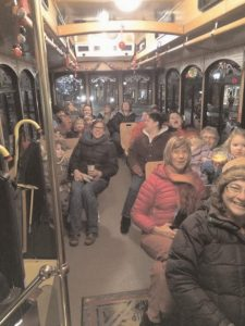 VOICES WILL RING OUT as a trolley travels through the streets of Bath. Trolley Caroling will take Fridays, Dec. 8, 15 and 22, and Saturdays, Dec. 9, 16 and 23, from 5-9 p.m. Passengers will be picked up at City Hall every 30 minutes. Visit visitbath.com for more information.