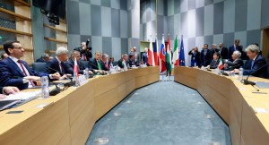 Members of the Visegrad Group meet on the sidelines of an EU summit in Brussels on Thursday. European Union leaders are gathering in Brussels and are set to move Brexit talks into a new phase as pressure mounts on Prime Minister Theresa May over her plans to take Britain out of the 28-nation bloc. At right is Italian Prime Minister Paolo Gentiloni and left is Polish Prime Minister Mateusz Morawiecki. AP WIREPHOTO