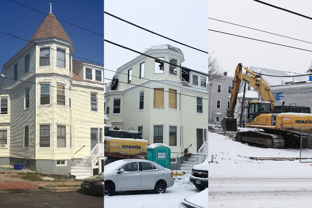 More than a dozen buildings in Portland's East End have been demolished since the city changed zoning on the peninsula two years ago to make it easier to build on small lots. This one, at 9 Moody St., came down last week.