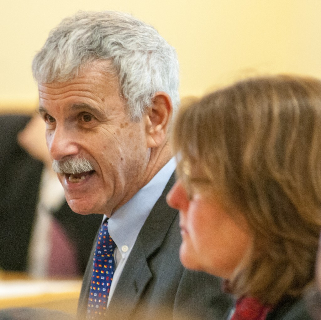Co-chair Sen. Roger Katz, R-Augusta, speaks at the beginning of Tuesday's hearing by the Marijuana Law Implementation Committee. Katz introduced a bill to extend Maine's moratorium on retail marijuana until May 1.