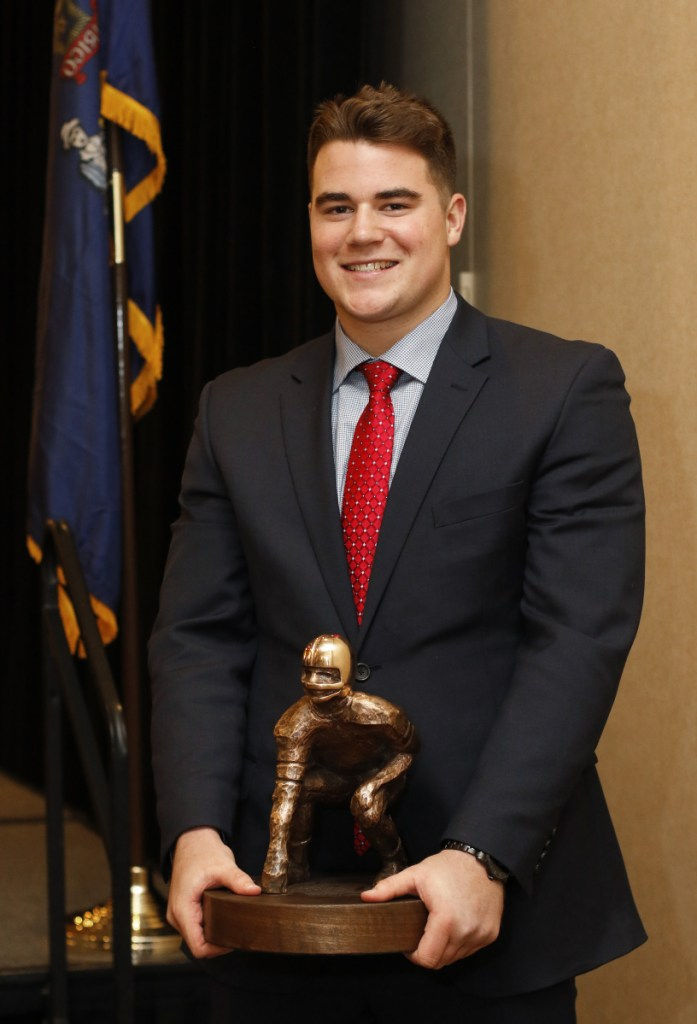 Owen Garrand of Scarborough was named the Fitzpatrick Trophy winner Sunday. He is the first player from Scarborough to win the award, which is given to the top senior football player in Maine.
