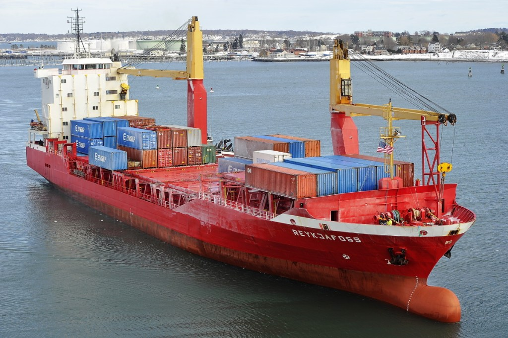 An Eimskip container vessel comes through Portland Harbor in 2015. Gov. Paul LePage told harbor commissioners they were essentially taxing businesses when they increased pilot fees on ships entering the harbor.