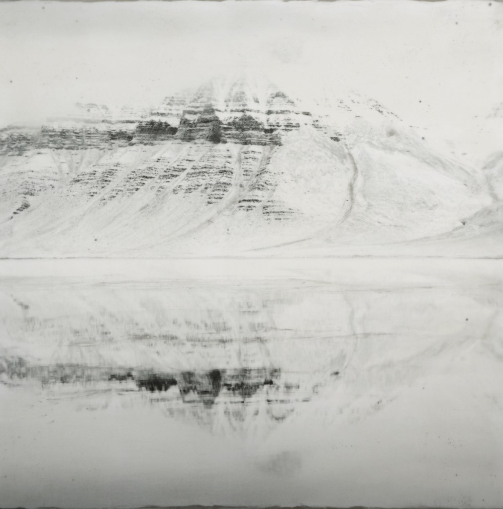 """""""Coraholmen, Reflected #2,"""" encaustic, photograph with beeswax, oil paint, metal dust, silver leaf, coal dust, 36 by 36 inches."""