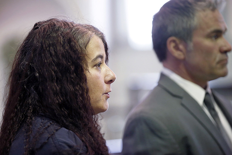 Shawna Gatto with her lawyer Philip Cohen in Lincoln County Superior Court in January.