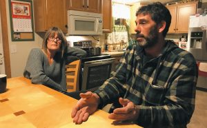 RODNEY DORAY speaks on Tuesday, with fellow Bay Bridge Estates resident Patty Aube looking on, about the way the mobile home park's water shortage has been handled.