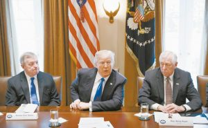 SEN. DICK DURBIN, D-Ill., left, and Rep. Steny Hoyer, D-Md. listen as President Donald Trump speaks during a meeting with lawmakers on immigration policy in the Cabinet Room of the White House in Washington, in this January 2017 file photo.