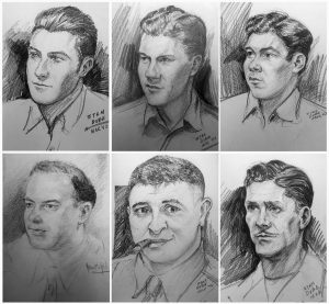 THESE SKETCHES provided by Ira Dube of U.S. Army 27th Infantry Division soldiers were among more than a dozen done by his father.