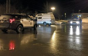 """BATH POLICE and Sagadahoc County Sheriff's personnel respond last week to the CVS parking lot in Bath after receiving a call about a person """"flicking a syringe,"""" according to Bath Police Lt. Robert Savary."""