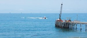 A SERVICE PIER for offshore oil drilling in the Santa Barbara Channel off the coast of Southern California near Carpinteria, as seen in this 2015 photo. The Trump administration last Thursday moved to vastly expand offshore drilling from the Atlantic to the Arctic oceans with a plan that would open up federal waters off the California coast for the first time in more than three decades. The Channel is one of those areas.