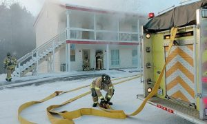 FIREFIGHTERS quickly extinguished a fire at the Americas Best Value Inn on Pleasant Street in Brunswick Monday.