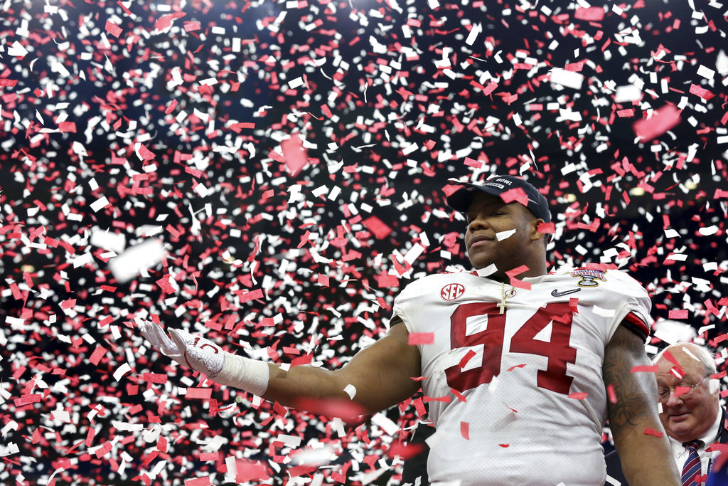 Alabama defensive lineman Da'Ron Payne celebrates after being selected most valuable defensive player, after the Sugar Bowl in New Orleans Monday.