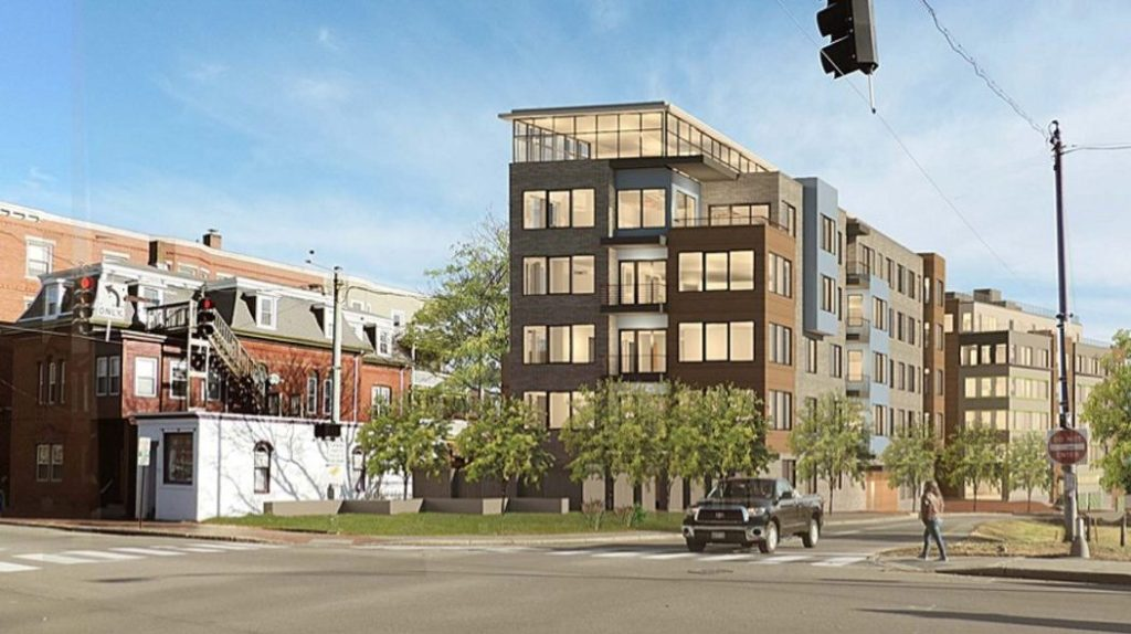A rendering depicts the six-story, 31-unit luxury condominium building proposed for 56 Hampshire St., along Franklin Street in Portland.