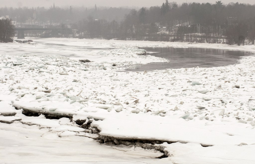 The ice jam in Kennebec River between Randolph and Farmingdale is seen Tuesday in Randolph. The Pearl Harbor Remembrance Bridge is seen at top left corner.