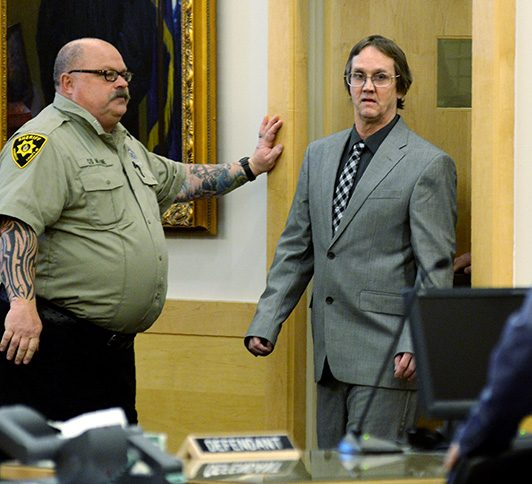 Philip Scott Fournier, 57, of East Millinocket, shown in February, was sentenced to 45 years in prison Friday for the killing of Joyce McLain in 1980.