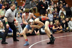 Skowhegan freshman Jake Craig gets a takedown during a match earlier this season. JASON GENDRON PHOTOGRAPHY