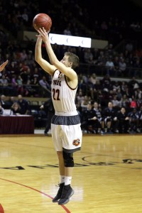 Biddeford senior Kyle Norton takes a 3-pointer during Wednesday night's playoff game in Portland.  JASON GENDRON PHOTOGRAPHY