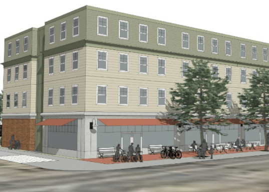 An architect's rendering of the South Portland Housing Authority's proposed building on Main Street. wants to build this 42-unit