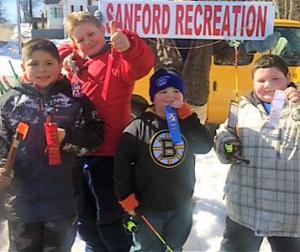 Winners at tghe Sanford Winterfest kids' fishing derby were Alex Campbell, Ronan Benson, Ryan Lovejoy and Aiden Jensen. COURTESY PHOTO/Sanford Parks and Recreation