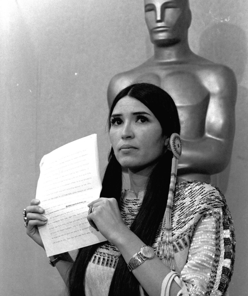 Sacheen Littlefeather declined the 1973 best actor Oscar on behalf of Marlon Brando, setting the stage for protest remarks to come.