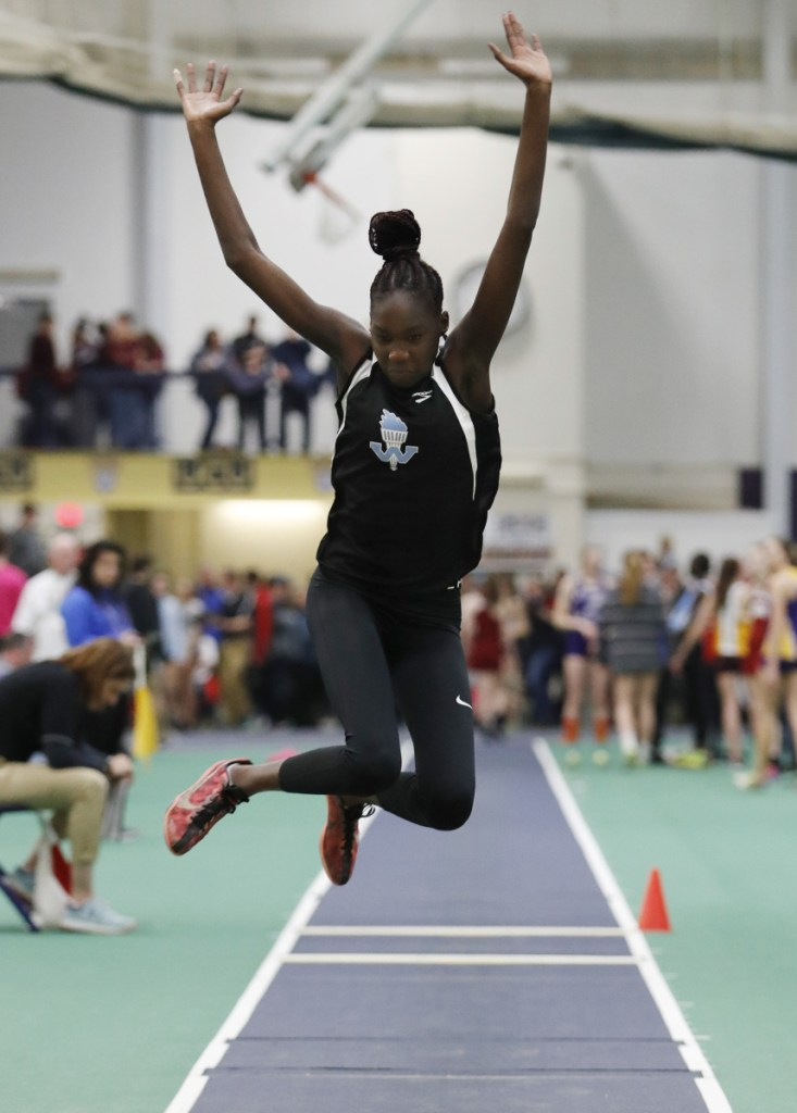 Nyagoa Bayak of Westbrook now ranks at the top of Maine's all-time list in the triple jump, with a leap of 39 feet, 1  inches at the national championships.