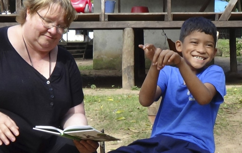 Judy Shepard-Kegl studies the sign language skills of a deaf boy in Bilwi, Nicaragua, in 2017. She came to Maine 20 years ago to help start USM's American Sign Language interpreting program.