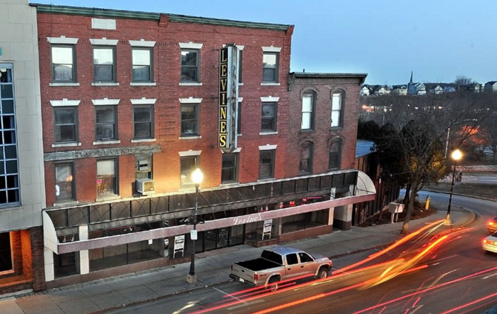 The old Levine's clothing store building on Main Street in downtown Waterville has been demolished. Colby College plans to build a so-called boutique hotel on the site.