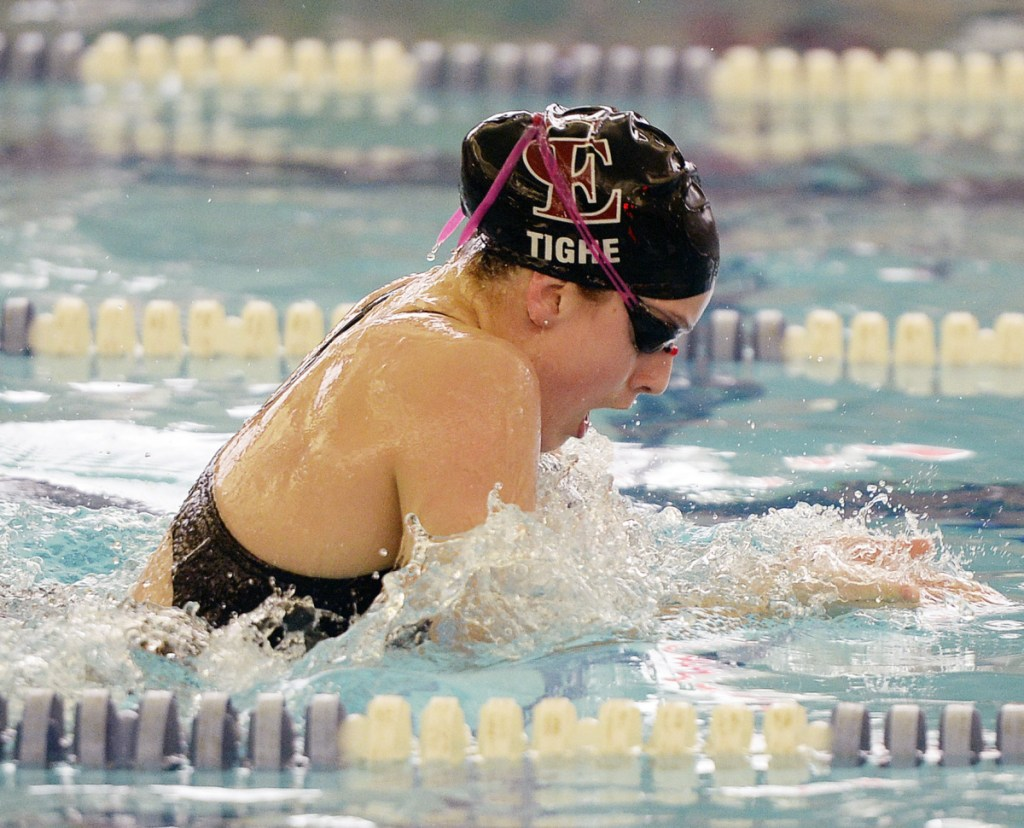 Olivia Tighe of Cape Elizabeth has been the Performer of the Meet each of the last two years while leading her team to back-to-back Class B girls' swimming championships.