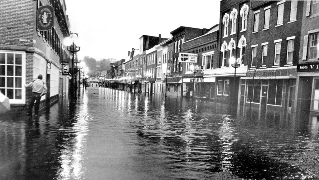 Water Street in downtown Gardiner is seen in April 1987 amid destructive flooding.