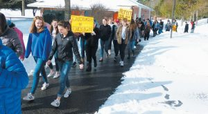 BRUNSWICK HIGH SCHOOL STUDENTS march earlier this month in support of ending gun violence.